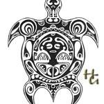 Modèle de tatouage de tortue polynésien