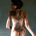 Angelina Jolie tattoo on buttocks