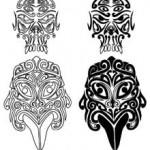 Modèle tatouage masques de tikis polynesiens