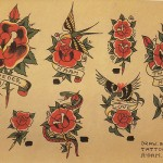 Planche de flash de tattoo old school : roses