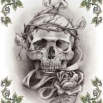 Modèle tatouage tête de mort old school flash