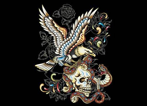 Tatouage de tête de mort, symbolique du crâne dans le tattoo old ...