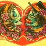 Modèle tatouage amour éternel cranes mexicains