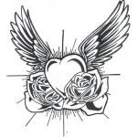 Modèle tatouage de coeur old school avec des ailes