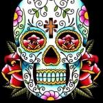 Modèle tatouage old school crâne mexicain