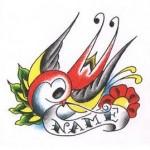 Modèle tatouage hirondelle avec parchemin pour prénom
