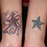 Modèle tatouage poignet étoile nautique bicolore