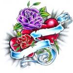 Modèle de tatouage de rose old school avec coeur