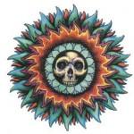 Modèle tatouage tête de mort soleil azteque