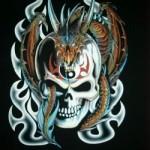 Modèle tatouage tête de mort old school tribal