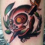 Modèle tatouage tête de mort old school