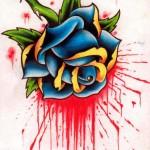 Modèle de tatouage de rose bleue