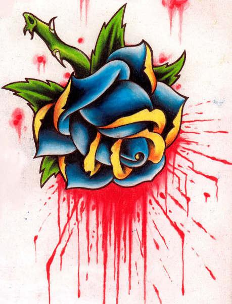 Tatouage rose old school symbolique rose et tattoo rose et amour dans le