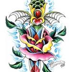 Modèle de tatouage de rose old school et poignard
