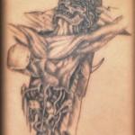 Modèle de tatouage de crucifix gore