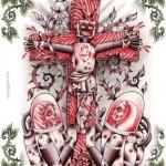 Modèle de tatouage de croix new scool