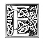 Modèle tatouage celtique lettre E