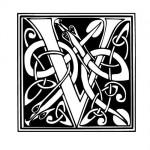 Modèle tatouage celtique lettre V