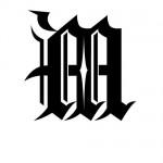 Modèle tatouage écriture gothique Lettre M