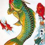 Modèles tatouage japonais carpe Koi