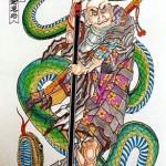 Modèles tatouage japonais samourai serpent
