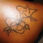 Tatouage Gwada colibri et guadeloupe