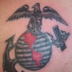Tatouage militaire USMC Traditionnel : aigle, ancre, monde