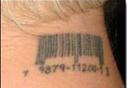Tatouage de code barre de Pink derrière la nuque