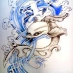 Modèle de tatouage de dauphin original