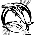 Modèle de tatouage de dauphin tribal