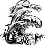 Modèle de tatouage de dauphin avec vagues