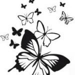Design de tatouage mural de papillons