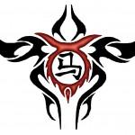 Modèle de tatouage de taureau tribal japonais