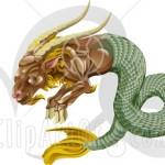 Modèle de tatouage de capricorne ; chèvre et poisson