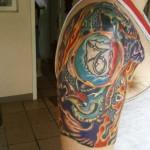 Modèle de tatouage de capricorne en couleurs