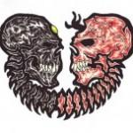 Modèle de tatouage morbide de gémeaux