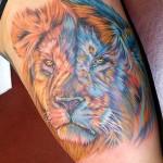 modèle de tatouage de lion en couleur