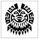 modèle de tatouage de lion tribal polynésien
