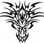 modèle de tatouage de lion tribal stylé