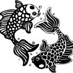 Modèle de tatouage de poissons avec bulles