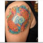 Modèle de tatouage de poissons en couleurs