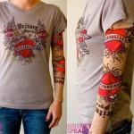 tee-shirt manchette style tatouage féminin