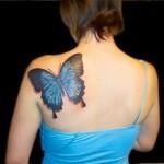 tatouage de papillon sur l'épaule