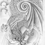 Modèle de tatouage de dragon sur la cuisse