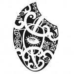 Modèle de tatouage maori sur la cuisse
