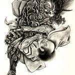 Modèle de tatouage de samouraï sur la cuisse