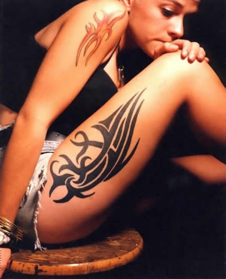 Tribal Thigh Tattoos for Women