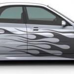 tatouage pour voiture : sticker de flammes