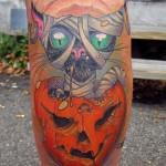 tatouage citrouille et chat noir halloween