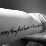 Tatouage Ed Sheeran everything that happens is from now on